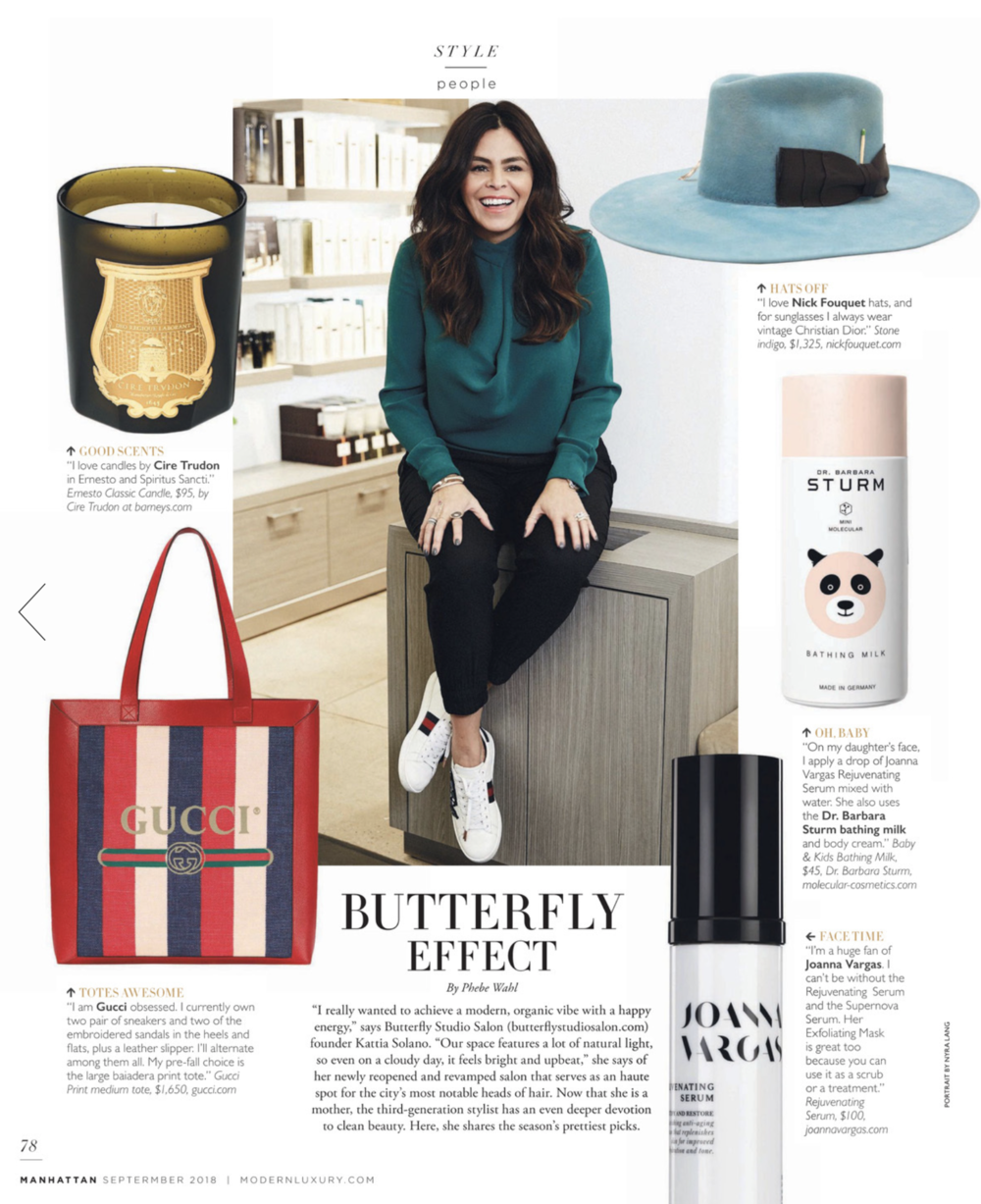 MODERNLUXURY.COM   Kattia Solano is featured in Modern Luxury. Full page spread on Solano's beauty favorites.
