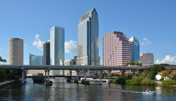 Downtown Tampa. Photo by Clément Bardot via  Wikimedia Commons .