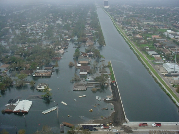 Aftermath of Hurricane Katrina, 17th Street Canal. Photo by  U.S. Army Corps of Engineers .