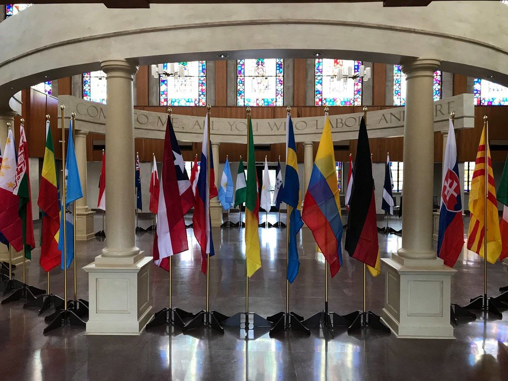 Flags from more than 40 countries encircled the narthex,then were proudly carried into the church by representatives of that country!