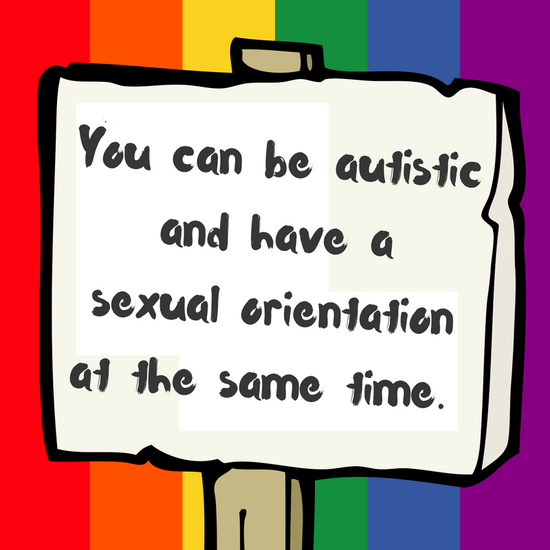 "A cartoon protest sign on a pride rainbow background with the text ""you can be autistic and have a sexual orientation at the same time"""
