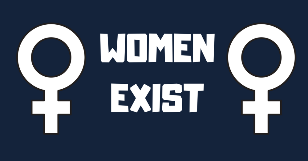 "Image description ""women exist"" between two female symbols."