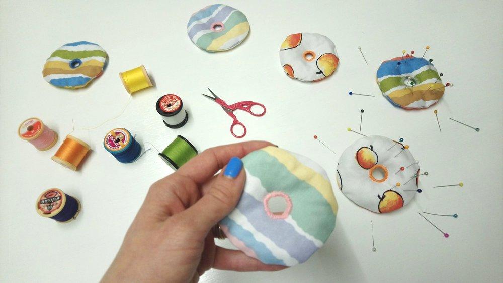 Doughnut shaped sewing weights and pin cushions