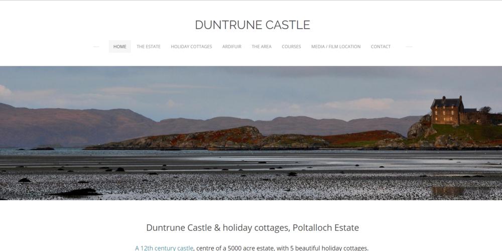 DUNTRUNE CASTLE - Photo shoot styling. Simple & reflective web site design. Social media platform set up.