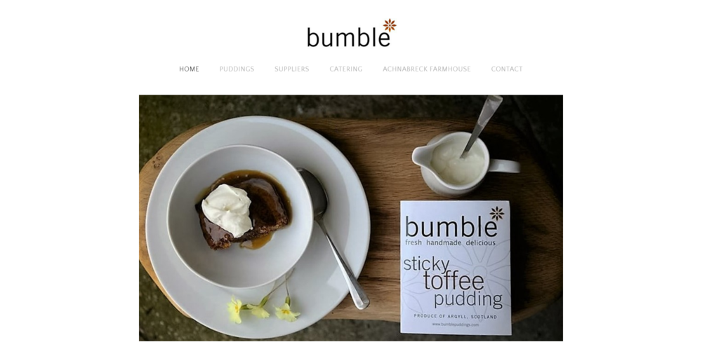Bumble Puddings - Photo shoot. Simple & reflective web design. Social media platform set up. CLOSED