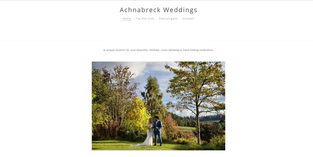 Achnabreck Weddings - Photo shoot & event styling. Simple & reflective web design. Social media platform set up. CLOSED