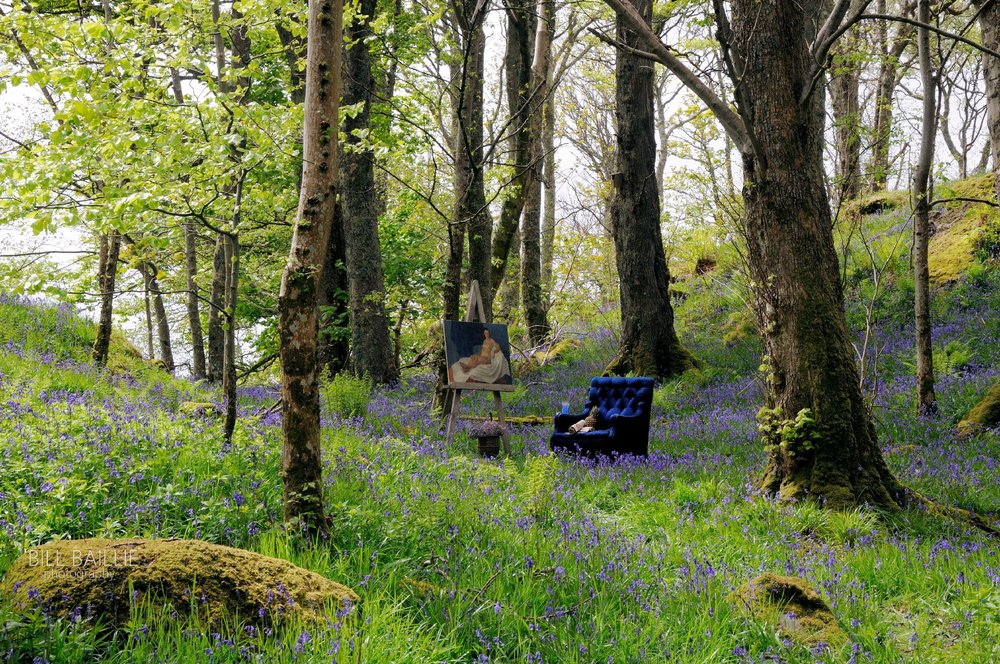 Bluebells in the wood. Exhibited: RSA, RGI, GNAS
