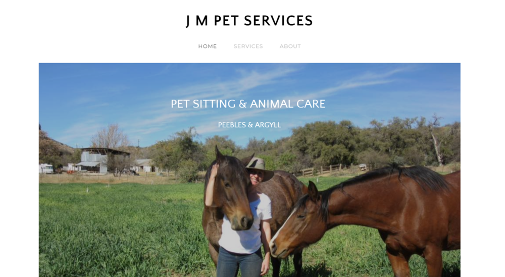 JM Pet Services - Simple & reflective web site design with no monthly fees