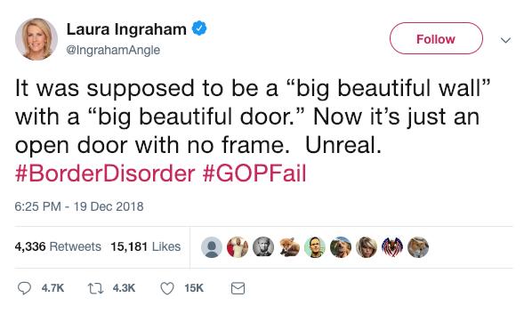 Laura Ingraham Shutdown Tweet - December 19th, 2019