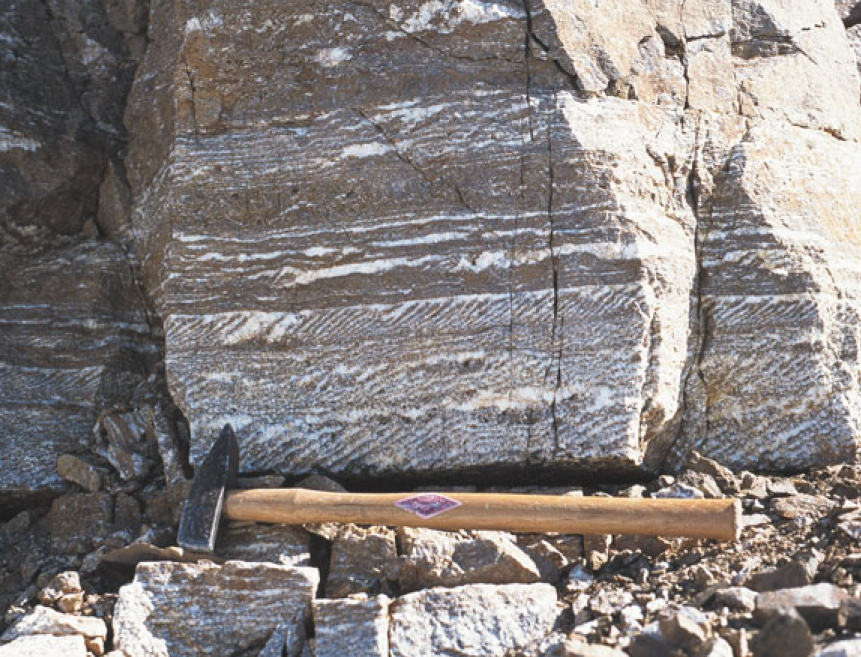 Barite lead-zinc prospect in the Hesteskoen Licence.  Image sourced from public domain technical reports released by the Government of Greenland.
