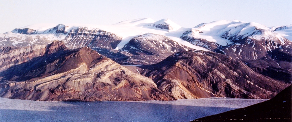 View of the Eleonore Bay Supergroup from Ymer Ø.  Image sourced from public domain technical reports released by the Government of Greenland.