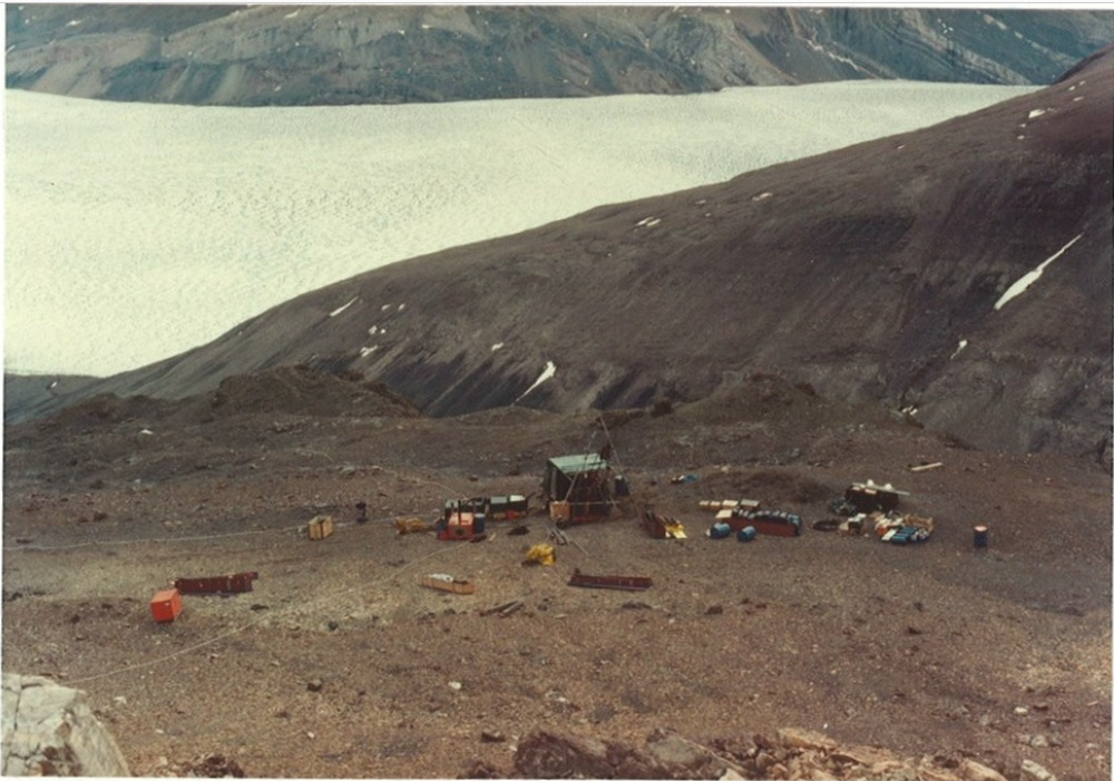 Diamond drilling the tungsten occurrence at South Margeries Dal, on Ymer Ø, circa 1983.  Image sourced from public domain technical reports released by the Government of Greenland.