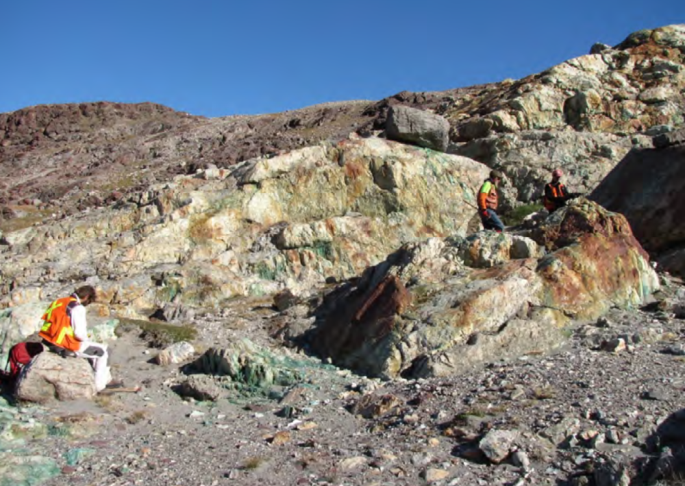 Copper anomalism at the Holmesø prospect, in the Eleonore North licence.  Image sourced from public domain technical reports released by the Government of Greenland.