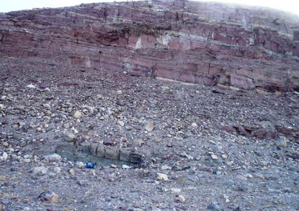 Copper anomalous beds at the Magdalena Sø prospect, in the North Eleonore licence.  Image sourced from public domain technical reports released by the Government of Greenland.