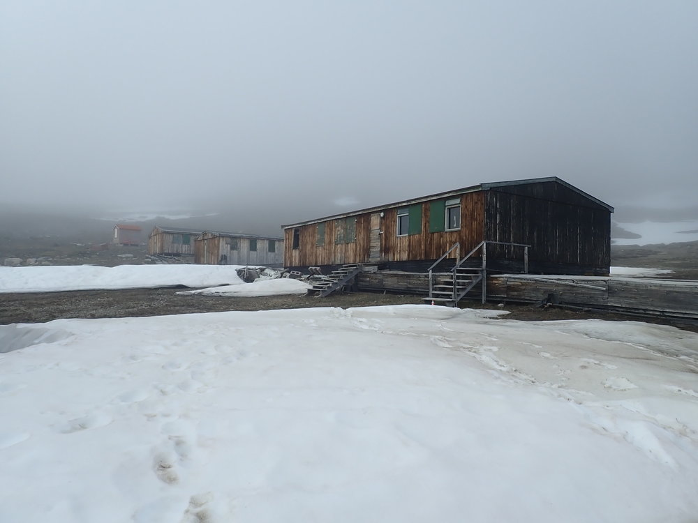 The old 1950s Blyklippen mine camp which was relocated to the coast at Nyhavn. Fog and snow for dramatic effect.