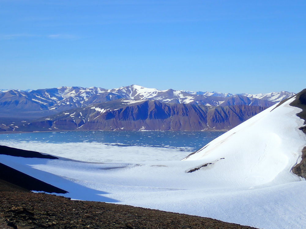 Standing on Wegener Halvø and looking across Fleming Fjord.