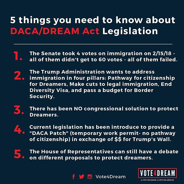 5 things you need to know about what's going on with DACA/Dream Act Legislation  #Vote4Dream #DACA #DreamAct