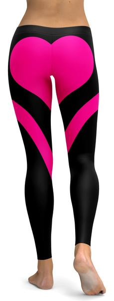 PINK HEART SHAPED BLACK LEGGINGS - $87.99