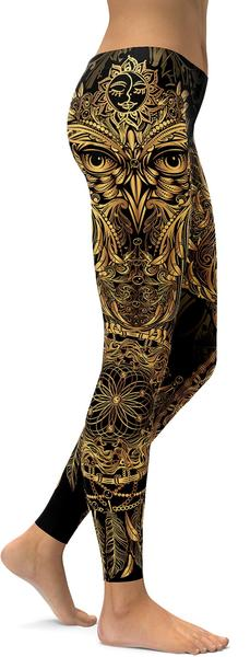 GOLDEN ORNAMENTAL OWL LEGGINGS - $87.99