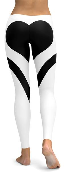 BLACK HEART SHAPED WHITE LEGGINGS - $87.99
