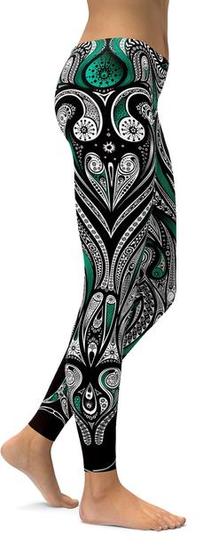TEAL ORNAMENT PATTERN LEGGINGS / YOGA PANTS - $87.99