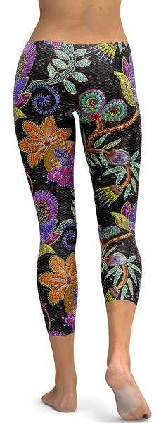FAUX PAILLETTE FLOWER CAPRIS - 79.99