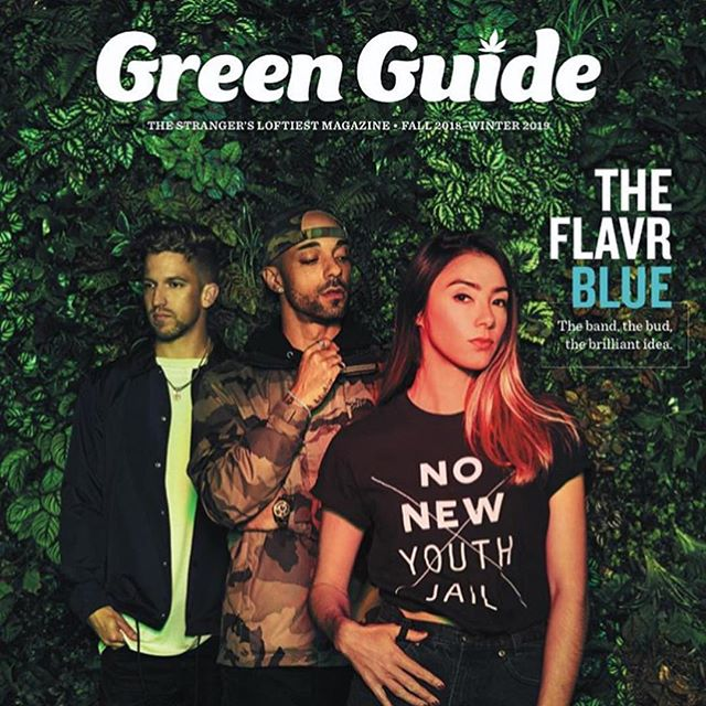 xtra proud+thankful that the cover of the Stranger's Green Guide features @theflavrblue & our partnership with @luxpotshop_ @finedetailgreenway to benefit the restorative justice work of @cagefreecannabis. we believe all cannabis consumers and those who profit from post-legalization bear accountability to those who were criminalized and impacted pre-legalization. we hope our pilot program can help towards new collaborations to envision community-led reparations and an increased consciousness and responsibility amongst our friends and folks. none of this would have gone down without @kalie_jo__ so shout out to her. photo & creative direction by @quinnrussellbrown & thanks @rhinoroomsea for letting us use your basement!! #NONEWYOUTHJAIL