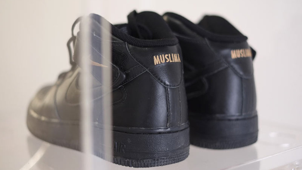 iamuslima , 2017, Nike ID Tag customized Nike Air Force One mid-top shoes