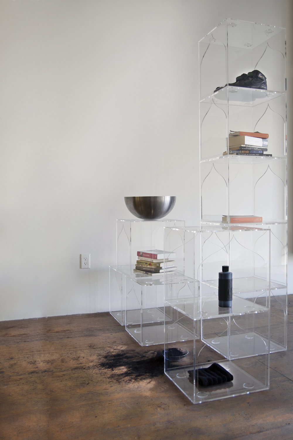 Reading Room, on Purpose, at  Participant INC., NY, 2017, Acrylic shoe boxes, 15 x 15 inches each, with artist library