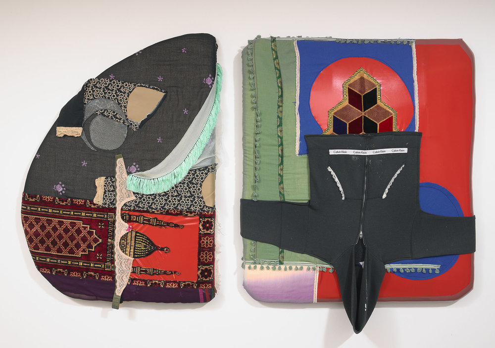 (From left to right)  Seat #1 [Feat.],  Prayer rugs, artist's underwear, textiles, 43 x 33 x 3.5 in, and  Seat #2 [Feat.],  Prayer rugs, artist's hoodie, textiles, pleather, 42 x 38 x 3.5 in, 2018