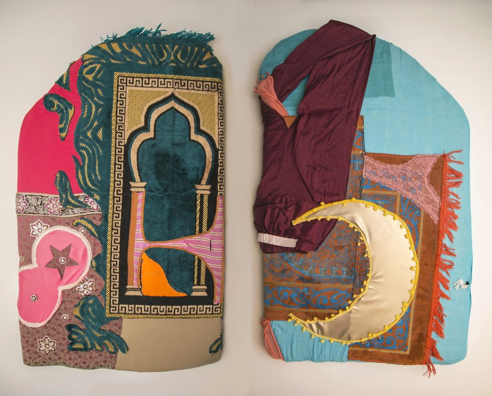 (From left to right)  Seat #14 [Feat.]  and  Seat #13 [Feat.], SEED,  Paul Kasmin Gallery, NY,   Prayer rugs, artist's underwear, textiles, 28 x 45 x 3.5 in, 2018