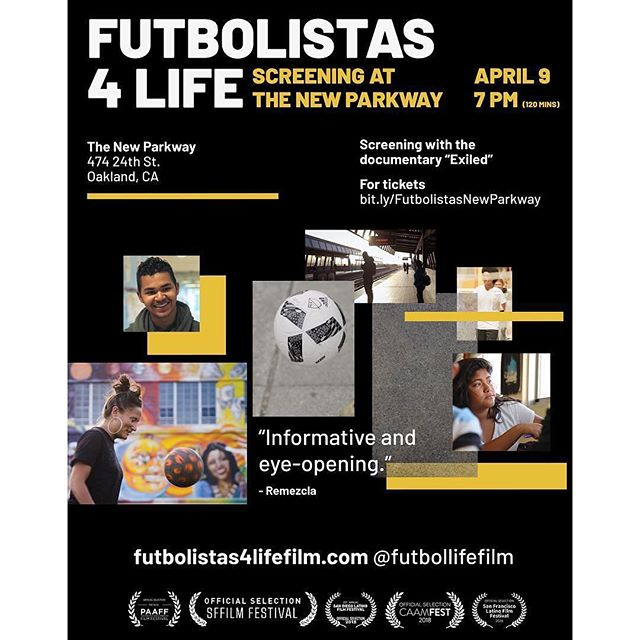 """🚨 Screening Alert 🚨  #repost from @futbolistas4lifefilm : ⚡️UPDATE!! SCREENING HAS BEEN CHANGED TO APRIL 2!! ⚡️We're screening @futbolistas4lifefilm at the @thenewparkway on April 9th at 7 pm! The 30 minute documentary film """"Exiled"""" about veterans who have been deported will also be screening. Please come out for the screenings and discussion, and spread the word! Event is hosted by one of our amazing funders @berkeleyfilmfoundation❤️ . . . . . #oakland #futbolistas #immigration #bayarea #oaklandyouth #ousd #youthorganizing #undocumented #daca #bayarea #soccer @glassbreakerfilms @womeninfilmla @fleishhacker_foundation @puffinculturalforum @ussoccerfoundation"""
