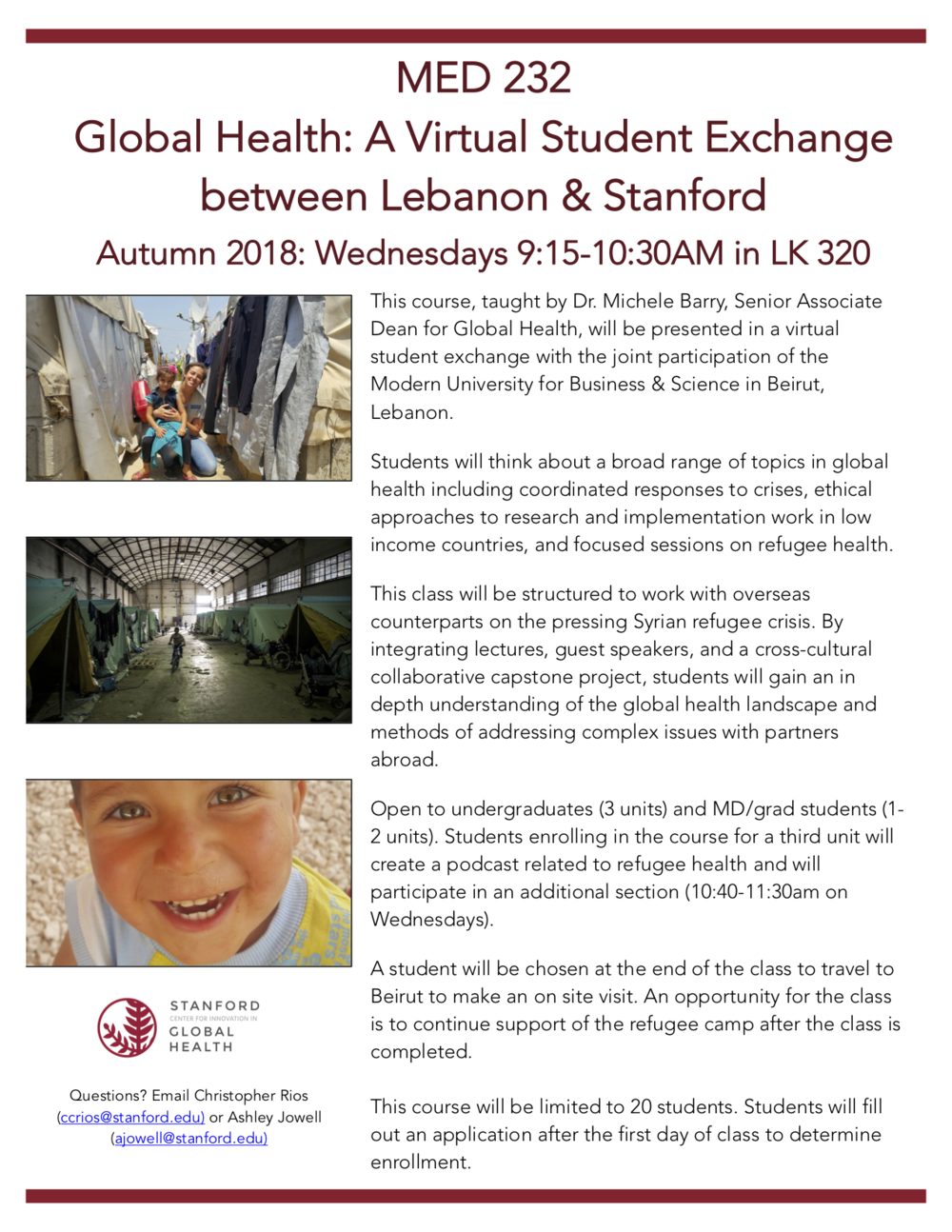 MED232 - Stanford students work in partnership with students in Lebanon (MUBS) and local NGOs to help meet the needs of a refugee community in Beka'a Valley, Lebanon.