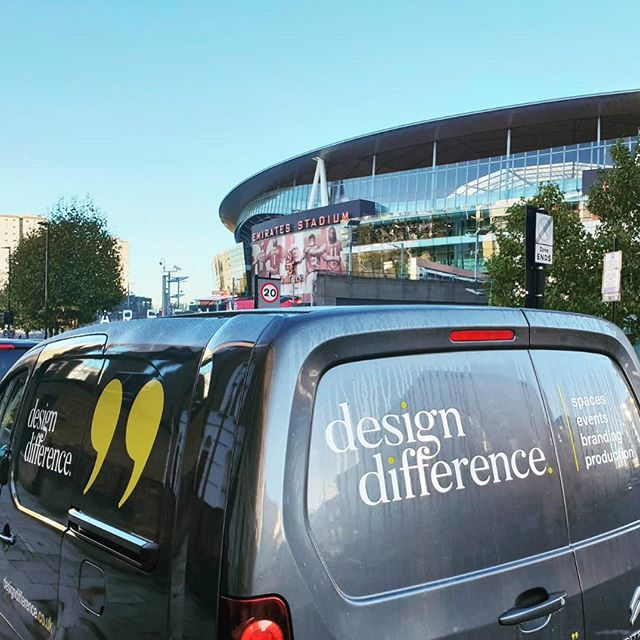 The #DesignDifference van out and about early delivering to our client @lavazzauk ☕️ at @arsenal #creatingadesigndifference #onthemove #footballstadium ⚽️