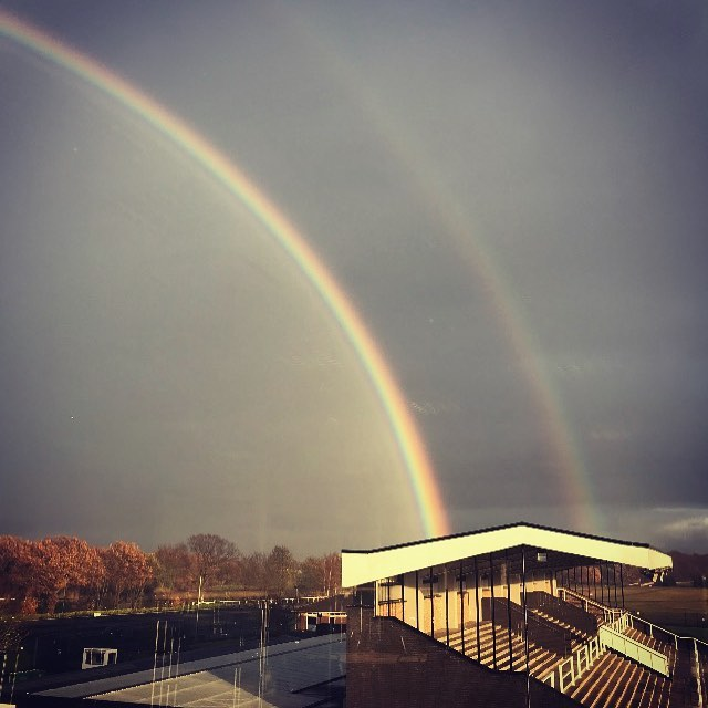 Happy Friday everyone! Site Survey at @haydockparkracecourse #creatingadesigndifference #doublerainbow 🌈