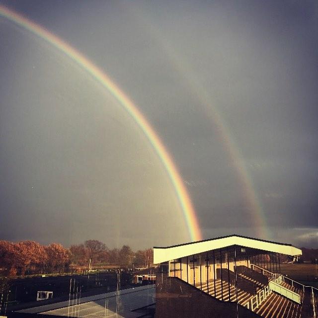 Happy Friday everyone! Site Survey at @haydockparkracecourse #creatingadesigndifference #doublerainbow 🌈