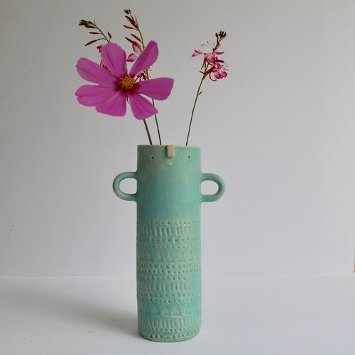 Slim Jim Tall Vase With Arms Turquoise Atelier Stella