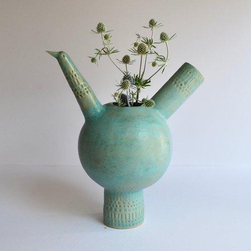 Large Mid Century Style Bird Vase Turquoise Atelier Stella
