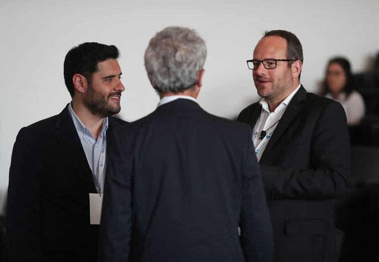 José (right), Director of Bolsa do Empreendedorismo, a program of the European Commission in Portugal, during the final Entrepreneurship Program Event alongside Jose Vale (IAPMEI) and João Mil-Homens (ANI).