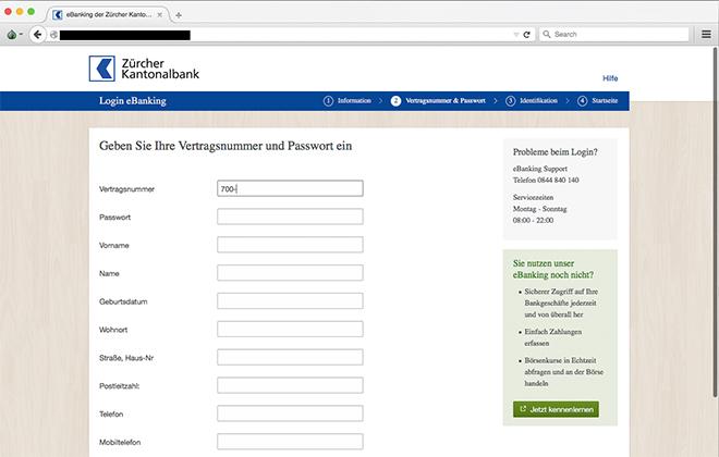 Beispiel einer Eingabemaske von einer ZKB Phishing-Mail   Quelle:    Zürcher Kantonalbank