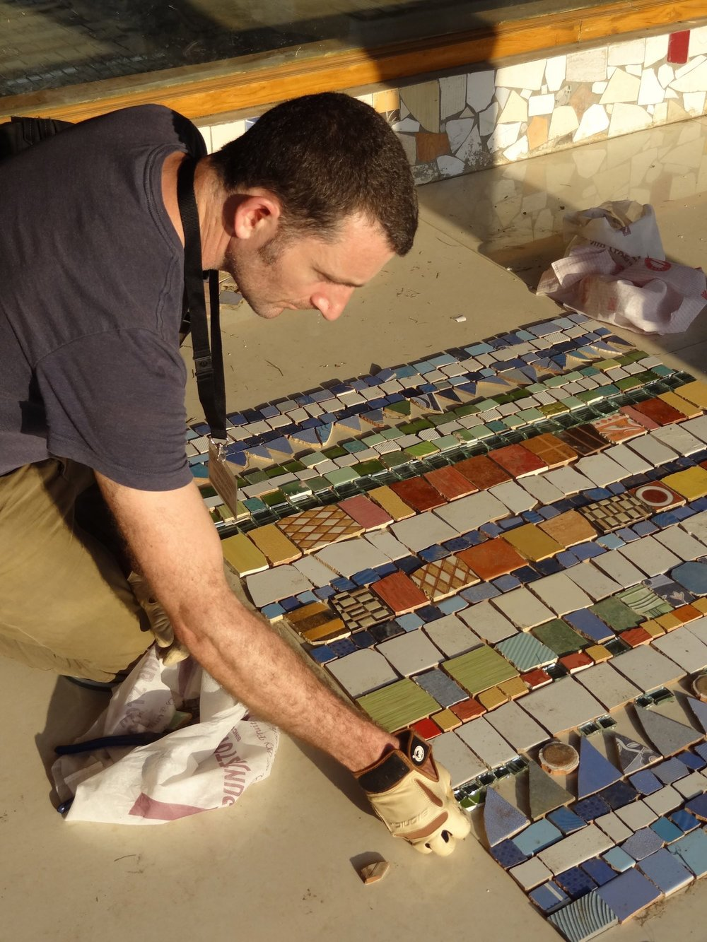 Mosaic preparation at the Rock Garden in India