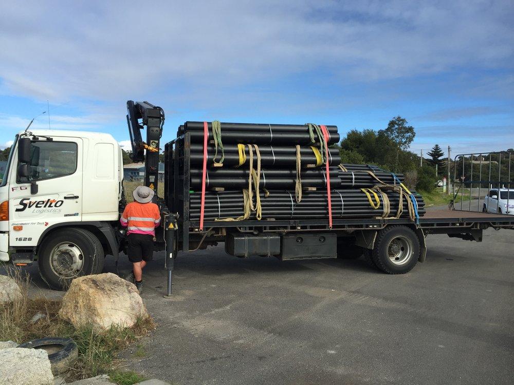 Picking up the 2,400 kg of furniture piping Bridport, Tasmania.