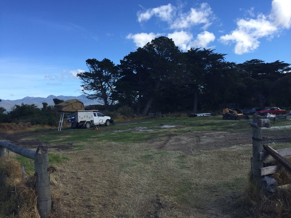 TasPort lease site - essentially a bare block of land but good sea / road access. TasPorts to install power and water. In backgrtound is the Ute.