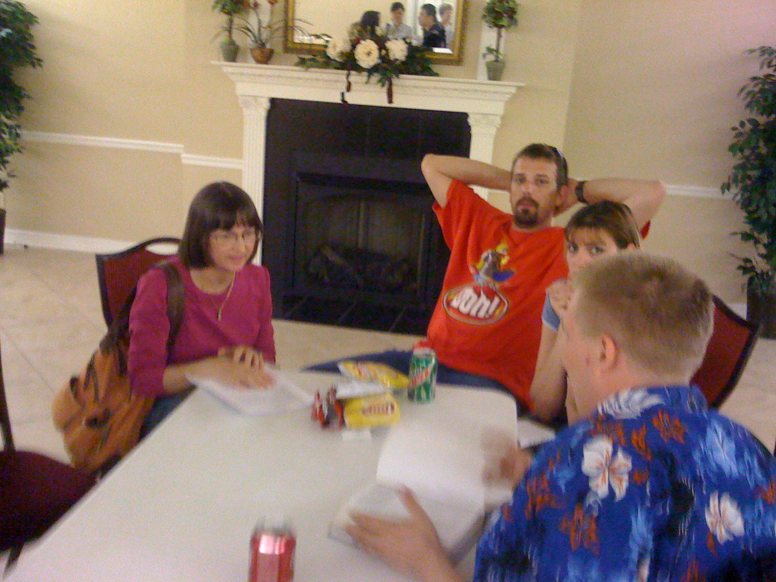 Peggy, Gene, Jessica, Shawn hanging out at Bible study Wednesdays Garnett