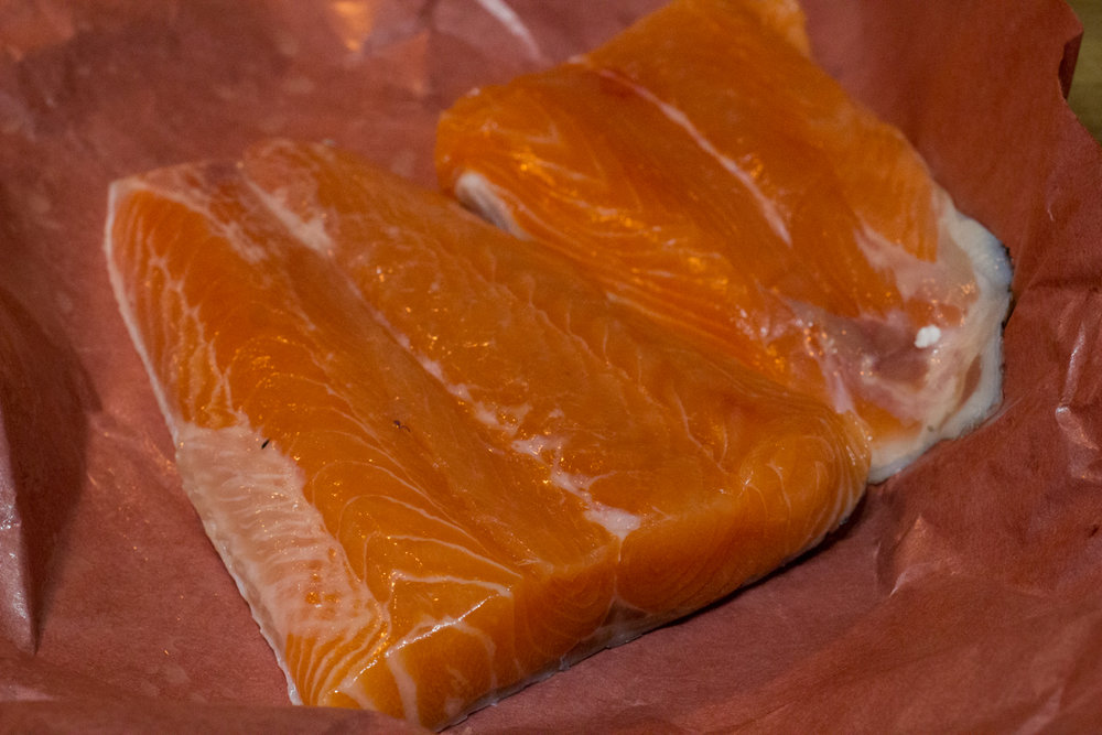 Wild Pacific Salmon tails - keep the skin on to retain the benefits of the Omega-3 fatty acids.