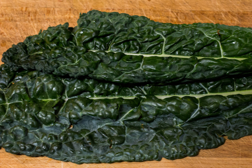 Dinosaur Kale - a dark green variant with crispy texture that holds while under high heat.