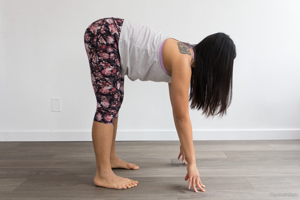 Hands on the floor *MORE DIFFICULT* - Hands on the floor, more difficult to roll shoulders away from ears, pelvis tilts forward. Thus legs have to be bent slightly, to press tailbone back.