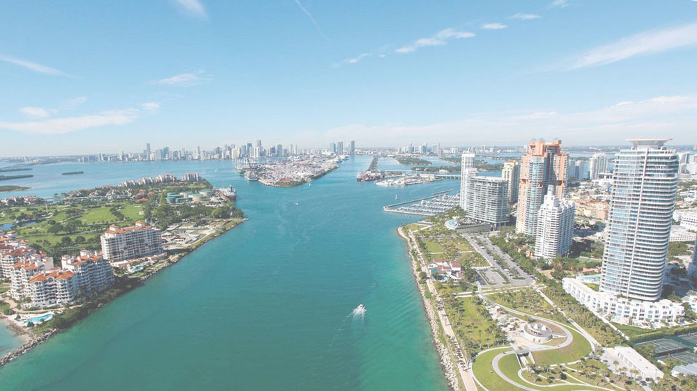 Helicopter tour shot over Miami , 2018.