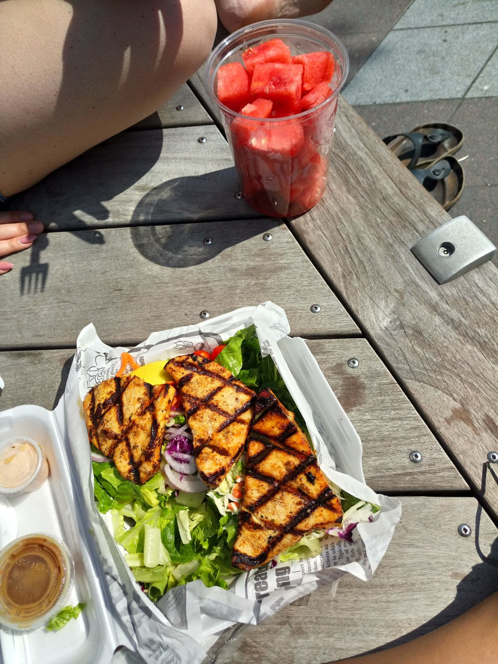 Grilled swordfish with salad (lemon, olive oil + balsamic dressing) and watermelon.
