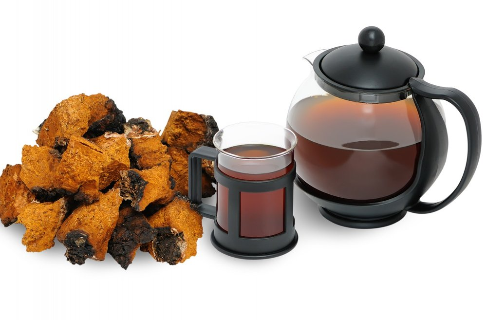 Chaga tea made from boiling down chaga chunks with water (photo from   Harmonic Arts  )